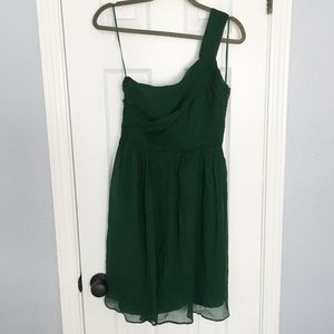 J.Crew NWT Hunter Green One Shoulder Dress